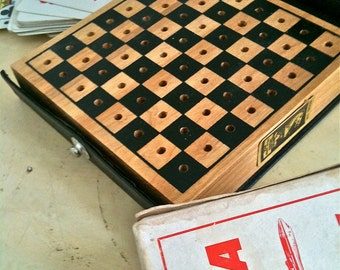 Vintage 1940's Checkers Travel Set Wooden Board By Drueke