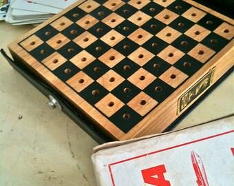 Vintage 1940's Checkers Travel Set Wooden Board By Drueke