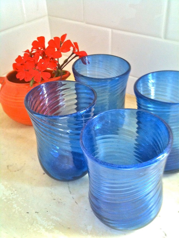 Vintage 1800's Blown Cobalt Blue Glass 4 Tumblers/Water Glasses....Swirl Possibly Blenko