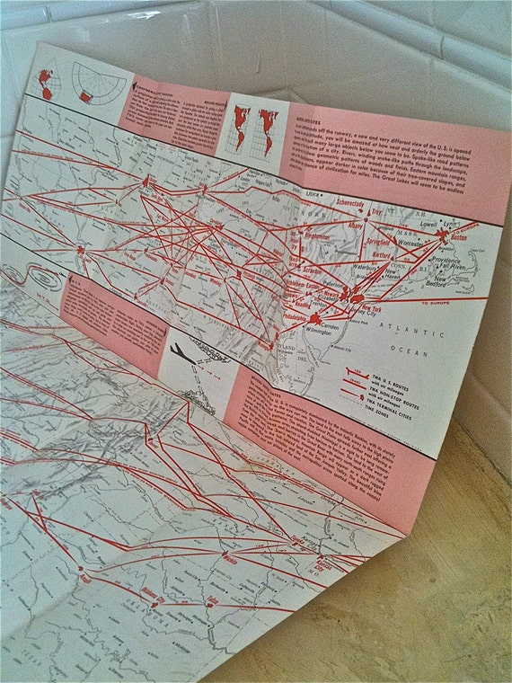 Vintage TWA Map US Routes Souvenir Pink Red And White