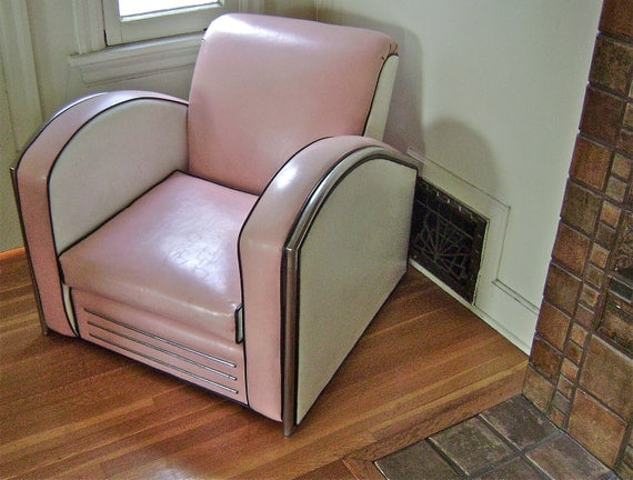 Vintage Jazz Art Deco Club Chair American Streamline Art Deco Style ...