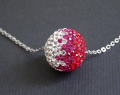 Sale-Big Ball With Crystal, Hot Pink, Red Rhinstones-16k White Gold Plated Necklace