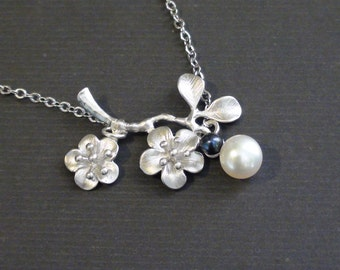 Sale-Freshwater Dark Gray And Cream Pearl With Cherry Blossom-White Gold Plated Necklace