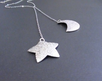 Clearance-Sanded Star And Sanded Crescent Moon -16k White Gold Plated Lariat Necklace