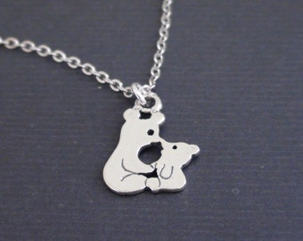 Sale-Sterling Silver Bear And Cub - 16k white gold plated Necklace