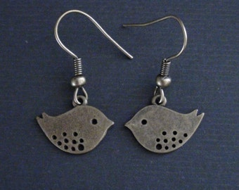 Clearance-Antiqued Brass Adorable Bird-Earrings