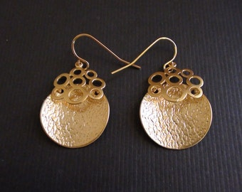 Clearance-Matte Gold Plated Palace Pendant-Gold Plated Or Silver Plated Earrings