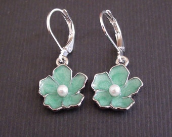 Clearance-Sakura Mint Charm - French Earrings