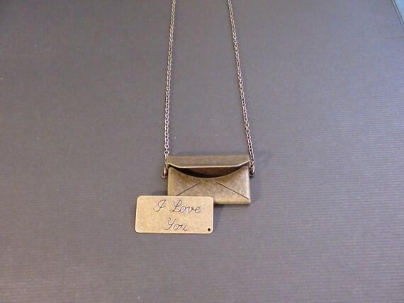 Sale-3D Envelope With Love Letter-Necklace