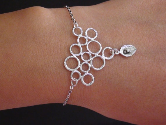 Clearance-Personalized Initial-Circular Connector With Initial Leaf-white gold plated bracelet