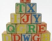 Vintage Large Wood Alphabet Blocks Set of 15