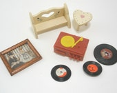 Vintage Seven Piece Dollhouse Set