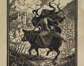 Lilith - Woodcut on Paper - Thomas Shahan