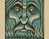 "Zeus - Art Deco Reduction Linocut - 5x7"" - Thomas Shahan"