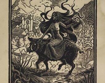 Lilith - Woodcut on Paper - Thomas Shahan
