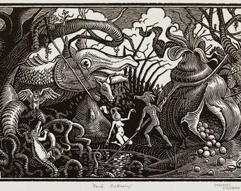 Pond Gathering - Woodcut on Paper - Thomas Shahan