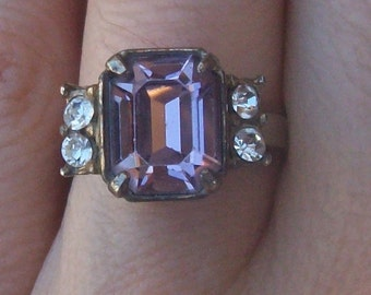 Vintage Art Deco Ring Faceted Purple Glass Paste Adjustable