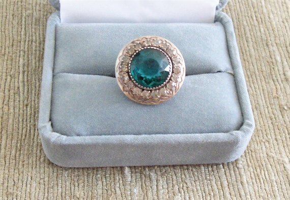 Antique Art Deco Ring Sterling Silver Green Stone Ring Paste Rhinestones Adjustable