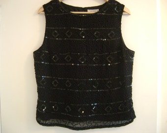 Vintage Black Beaded and Sequined Top 100% Silk