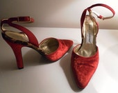 Vintage DOLCE & GABBANA Red Velvet Slingback Shoes with Ankle Straps