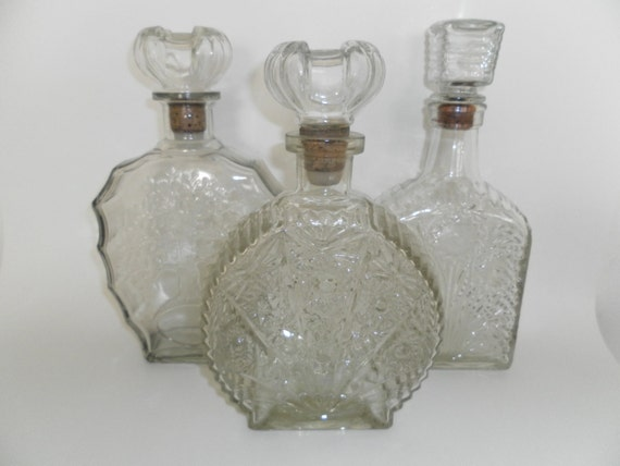 Vintage 1950 S Glass Liquor Bottles Wine Decanters Lot