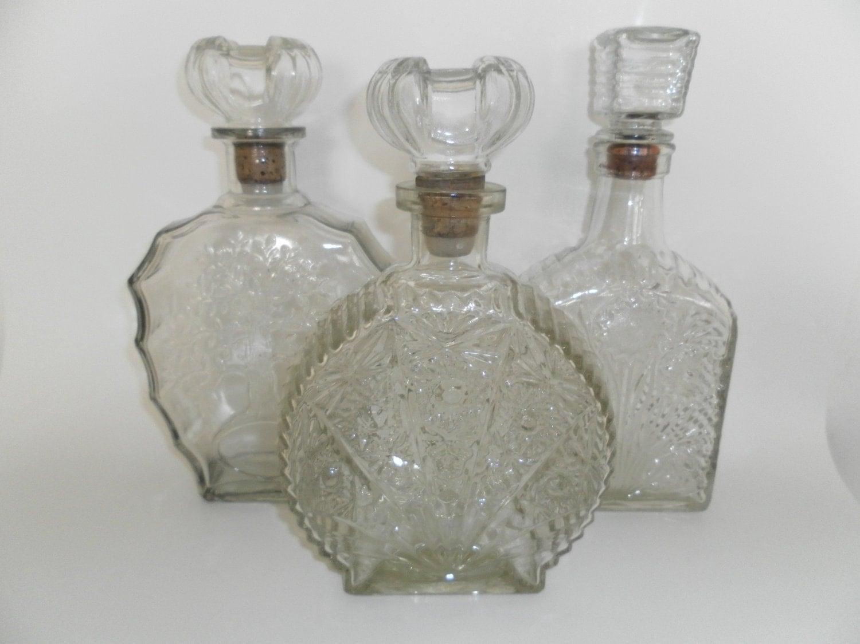 Vintage 1950 S Glass Liquor Bottles Wine By Boardwalkpavilion