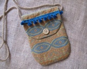Mini Messenger Bag Purse in Vintage Blue, Orange and Tan African Fabric