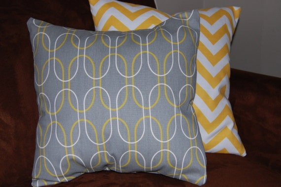 Grey and Yellow Throw Pillow Cover by madebydrawstring on Etsy
