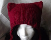 Kitty Ear Hat with Ear Flaps Chunky Knit Wool Blend- Cranberry Red- Kawaii, Cosplay, Goth