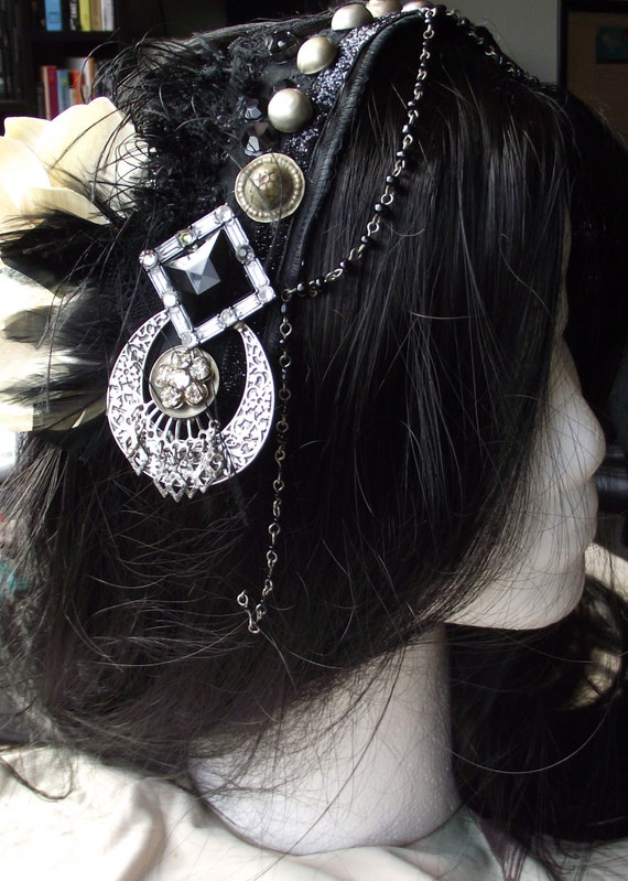 Tribal Fusion Belly Dance Headpiece- Black Eyelash and Lace