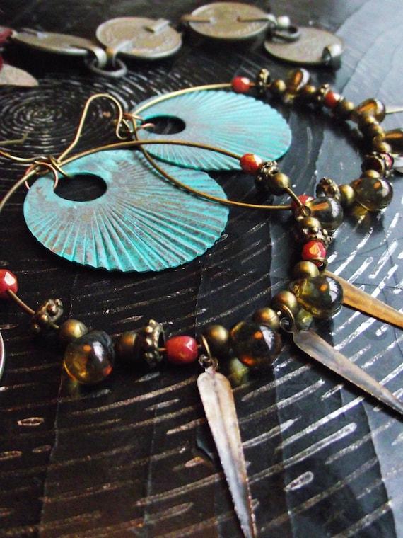 Tribal Sunrise Earrings- Verdigris Disc and Brass Spike Hoop Earrings