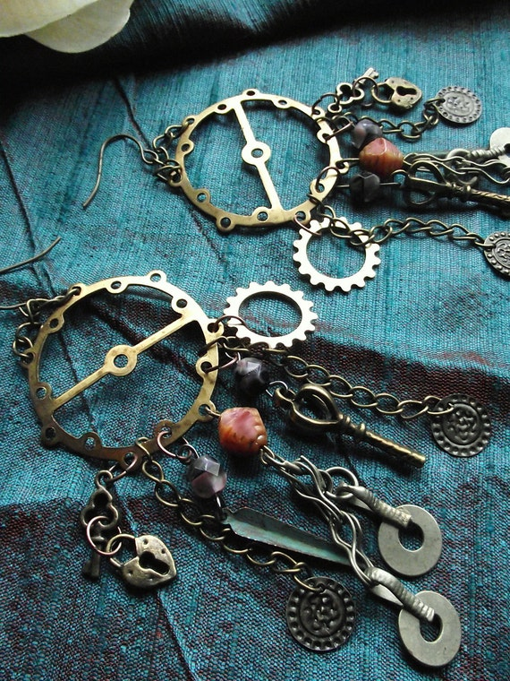 Steampunk Earrings- Around the World- Brass Gears and Charms