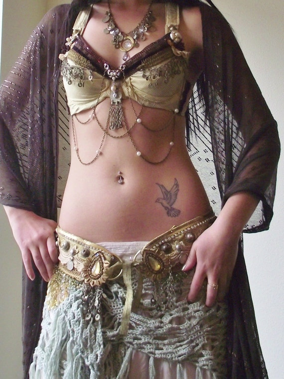 RESERVED For Laura- Tribal Fusion Bellydance Belt- Gateau D'or- Custom Fit L to XL