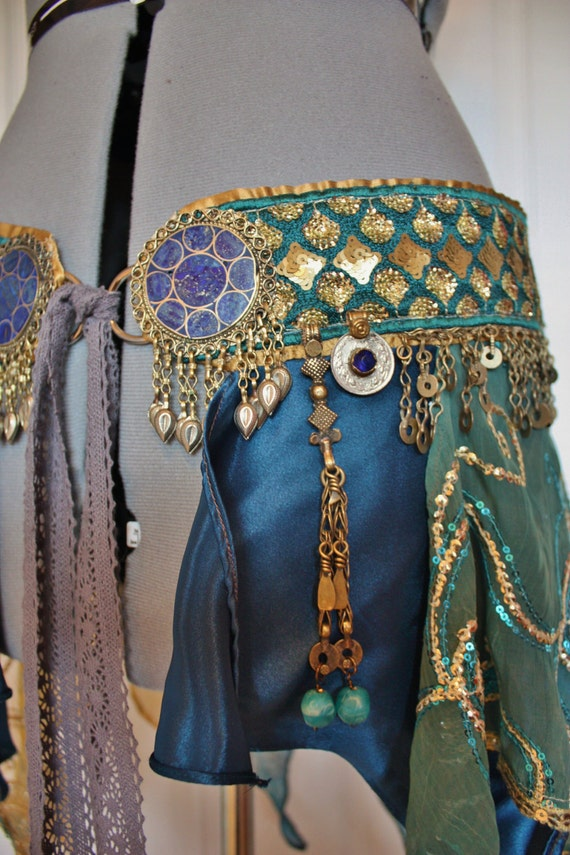 "RESERVED FOR NYX- Belly Dance Belt- Atlantis- Size M (36""/ 91 cm) Brilliant Blue and Gold Belt and Skirt Combo"