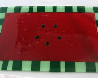 Fused glass watermelon plate