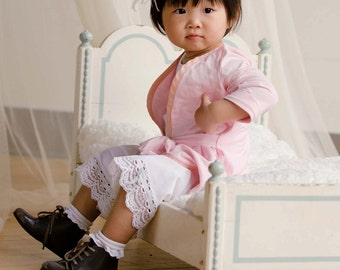 PATTERN and TUTORIAL - Lace Hem Petticoat Pants for Infant, baby, toddler girls