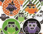 Halloween Owls - 1 Inch Circles Digital Collage Sheet - 48 Images
