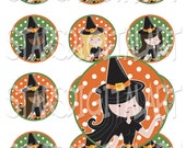 """Mod Witches Patterned - 1 Inch Circles Digital Collage Sheet - 12 Images on 4""""x6"""" Sheet"""
