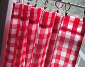 """Cafe Curtain Set 80"""" Wide Large Red and White Gingham 1"""" Check"""