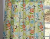 """Cafe Curtain Set 80"""" Wide x 30"""" Long Humming Birds and Flowers by Alexander Henry Blue Yellow Green Orange Brown"""