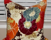 Pair of Designer Throw Pillow Covers 18x18 Richloom Amelia Graffiti Set of 2 Orange Red Plum Purple Chocolate Brown Blue Yellow Taupe Cream