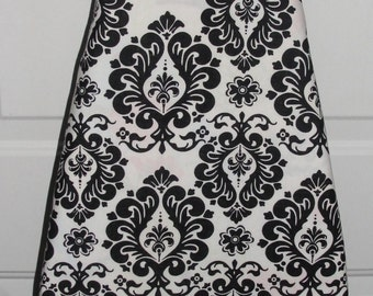 Ironing Board Cover Black and White Damask