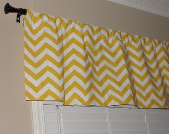 """Valance Premier Prints Yellow Chevron Valance 50"""" wide x 16"""" long Zig Zags Lined with Cotton Muslin Yellow White"""