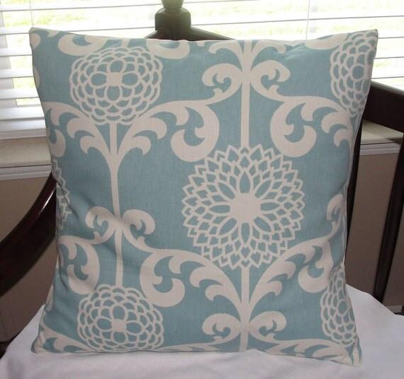 "Designer Pillow Cover Blue Spa Fun Floret Pattern 18""x18"" Ivory / Cream"