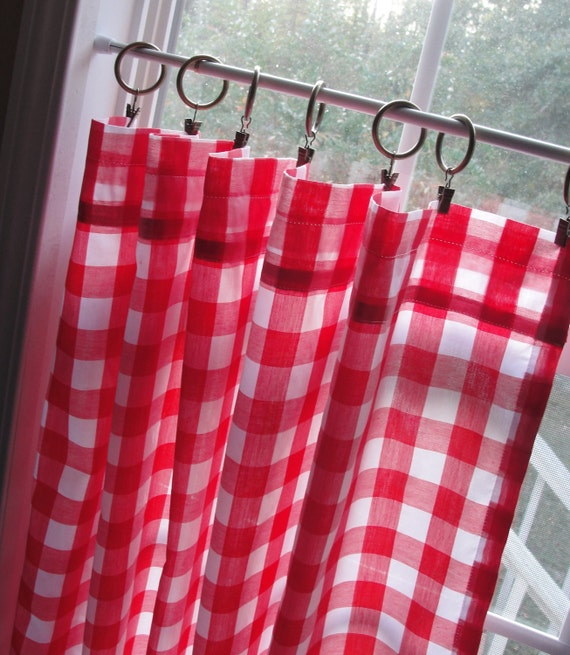 Curtains Ideas curtain rod ring clips : Cafe Curtain Set 80 Wide Large Red and White by LettsSewSomething