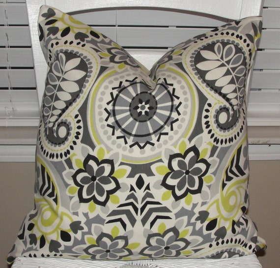 "Designer Throw Pillow Cover 18""x18"" Waverly Paisley Prism Gray Green Black Cream"