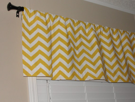 "Valance Premier Prints Yellow Chevron Valance 50"" wide x 16"" long Zig Zags Lined with Cotton Muslin Yellow White"