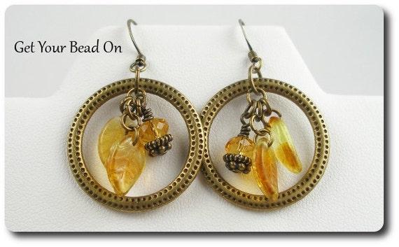 Brass Hoop Earrings with Autumn Dangles