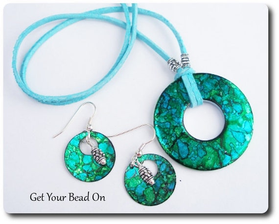 Clearance Sale - Electric Green and Blue Necklace and Earring Set