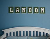 Custom Block Nursery Wall Letters, Color Coordinated with your child's room, canvas, fabric and wooden letters